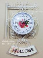 ของขวัญวันเปิดร้านสไตล์ Vintage นาฬิกาแขวนสองหน้าตกแต่งร้าน แขวนป้าย Welcome