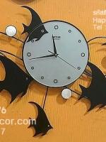 นาฬิกาติดผนังโมเดิร์น รูปปลาเทวดาประดับมุก