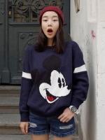เสื้อไหมพรมแฟชั่นเกาหลีสีกรมท่า แขนยาว พิมพ์ลายมิ้กกี้เมาส์ คอกลม เอวจั๊ม เนื้อผ้าหนานุ่ม
