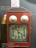 นาฬิกาแขวนผนังตกแต่งบ้าน รูปทรงตู้โทรศัพท์สีแดง สวยคลาสสิค