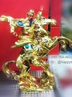 เทพเจ้ากวนอูทรงม้าสีทอง ไซส์ 6 นิ้ว