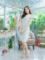 L,3XL ชุดเดรส- ชุดเดรสไซส์ใหญ่ ผ้า korea TM พื้นสีเขียวพาสเทล ลายดอกเล็กๆ ด้านบนตัดต่อผ้าสีขาว