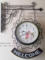 นาฬิกาแขวนผนัง 2 หน้า สีดำ ห้อยป้าย Welcome งานเหล็กสไตล์วินเทจ