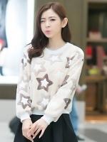 เสื้อไหมพรมแฟชั่นเกาหลีสีครีม แขนยาว พิมพ์ลายดาว ผ้าขนนุ่มสบาย คอกลม แขนยาว เอวจั๊ม