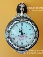 นาฬิกาแขวนผนัง 2 หน้าประดับเพชร ตัวเรือนสีน้ำตาล สไตล์โรมัน ประดับลวดลายสวยเก๋