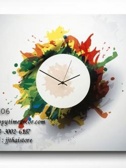 นาฬิกาสไตล์ร่วมสมัย Contemporary ภาพสีกระจาย - HT0006