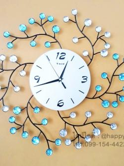 นาฬิกาติดผนังเก๋ๆ รุ่นกิ่งไม้เกลียวประดับพลอยฟ้า