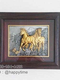 ของที่ระลึกขึ้นบ้านใหม่ กรอบรูปภาพแขวนผนัง รูปม้าสีทอง