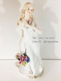 ของขวัญขึ้นบ้านใหม่ประดับบ้านสวยๆ ตุ๊กตาเรซิ่นหญิงสาวถือดอกไม้