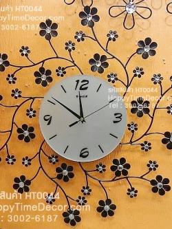 นาฬิกาติดผนัง รูปกิ่งไม้ดอกไม้ดำประดับพลอย