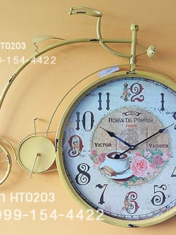 นาฬิกาติดผนังตกแต่งบ้าน Vintage รูปจักรยานสีเหลือง หน้าปัดใหญ่