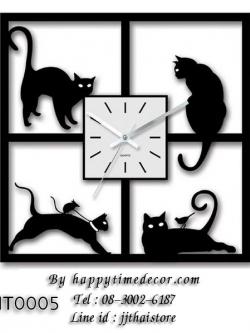 นาฬิกาติดผนังทรงสี่เหลี่ยม รูปแมวดำ 4 ตัว 4 ท่าทาง - HT0005