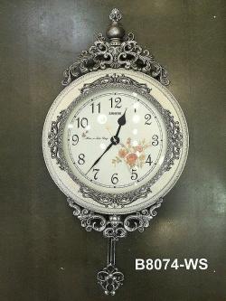นาฬิกาแขวนตกแต่งบ้าน ดีไซน์สวยสไตล์โรมัน รุ่นมงกุฎกรอบขาวผิวแตก
