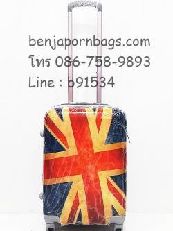 กระเป๋าเดินทางล้อลาก PC ลายธงชาติอังกฤษ คันชักคู่ ไซส์ 20 นิ้ว