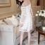 Korea Design By Lavida Elegant floral lace see through shoulder luxury dress สีขาว thumbnail 2