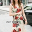 Lady Ribbon's Made Lady Monique Sophisticated Red Roses Printed Peplum Dress thumbnail 3