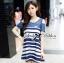 Lady Ribbon's Made Lady Rita Casual Style Cut-Out Denim Striped Dress thumbnail 1