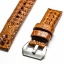 Brown Tan Genuine Leather Horn Black Crocodile Leather Watch Strap Pam Buckle 24mm thumbnail 10