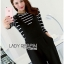 Lady Ribbon's Made Lady Chiara Minimal Chic Striped Top with Overall Jumpsuit Set thumbnail 2