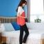 เสื้อแฟชั่น คอกลม แขนสั้น ผ้าชีฟอง เสื้อสีขาวตัดสีแดงส้ม รหัส 44123-แดง thumbnail 6