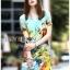 Lady Jennifer Casual Vivid Color Mix Printed Chiffon Dress สีฟ้า thumbnail 1