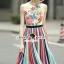 Seoul Secret Say's... Lollita Pleatly Color Flora Print Dress thumbnail 1