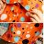 เสื้อเชิ๊ต คอปก แขนสี่ส่วน กระดุมหน้า ลายจุดสีสดใส เสื้อสีน้ำเงิน รหัส 44102-ส้ม thumbnail 4