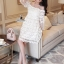 Korea Design By Lavida Elegant floral lace see through shoulder luxury dress สีขาว thumbnail 1