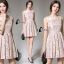 Cliona Made' Pinky Golden Floral Lace Luxury Dress thumbnail 3