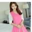 V-4-L0143-ชมพู ชุุดเดรสทำงานสีชมพู แขนยาวเย็บผ้าสีขาว คอวี เอวเข้ารูป สวยน่ารัก thumbnail 2