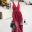 Korea Design By Lavida sexy v neck bodycon red lace maxi dress thumbnail 1