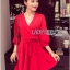 Lady Ribbon's Made Lady Stella Sexy Vivid Color Wrap Dress with Ribbon สีแดง thumbnail 2