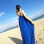ชุดเดรสยาวใส่ไปเที่ยวทะเลสีน้ำเงิน สายเดียว ทรงหลวม ใส่ไปทะเล สบายๆ thumbnail 6