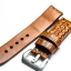 Brown Tan Genuine Leather Horn Black Crocodile Leather Watch Strap Pam Buckle 24mm thumbnail 4