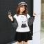 เสื้อกันหนาวแฟชั่นเกาหลี แขนยาว ลำตัวสีขาวพิมพ์ลายแมวน่ารักๆ thumbnail 1