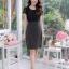 ชุดเดรสสีดำ เสื้อคลุมผ้าลูกไม้สีดำ ตัวชุดเป็นผ้า Canvas พื้นสีดำ ลายจุดเล็กๆ XL818 thumbnail 2
