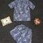 Korea Design By Lavida fashionista floral embroidery blue suit short pants set thumbnail 6