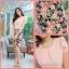 M, 3XL ,5XL ชุดเดรส-ชุดเดรสไซส์ใหญ่ เสื้อผ้าชีฟอง สีโอรส คอจับจีบ ขอบเอวแต่งสีขาว กระโปรง ผ้า Hanako thumbnail 7