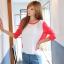 เสื้อยืด แขนยาว คอกลม เสื้อสีขาวแขนสีแดง รหัส 44109-แดง thumbnail 2