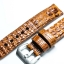 Brown Tan Genuine Leather Horn Black Crocodile Leather Watch Strap Pam Buckle 24mm thumbnail 3