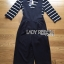 Lady Ribbon's Made Lady Chiara Minimal Chic Striped Top with Overall Jumpsuit Set thumbnail 4