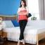 เสื้อแฟชั่น คอกลม แขนสั้น ผ้าชีฟอง เสื้อสีขาวตัดสีแดงส้ม รหัส 44123-แดง thumbnail 8