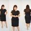 ชุดเดรสสีดำ เสื้อผ้าลูกไม้เอวแต่งโบว์ เอวระบายรอบตัว กระโปรงผ้า Hanako เนื้อดี XL824 thumbnail 3