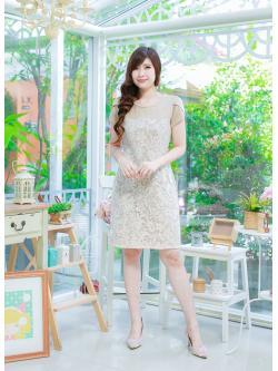 ชุดเดรส-ไซส์เล็ก-ไซส์ใหญ่ เดรสผ้า Hana สีกากี ผ้าเนื้อดี ผ้าหนาระดับ 3 มีความยืดหยุ่น ปูทับด้วยผ้าลูกไม้ญี่ปุ่น