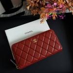 Chanel wallet สีแดง งานHiend งานเนี๊ยบสวยเป๊ะ หนังแท้ หนังCaviar