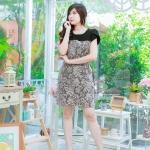 ชุดเดรส-ไซส์เล็ก-ไซส์ใหญ่ เดรสผ้า Hana สีดำ ผ้าเนื้อดี ผ้าหนาระดับ 3 มีความยืดหยุ่น ปูทับด้วยผ้าลูกไม้ญี่ปุ่น