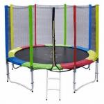 สปริงบอร์ดแทรมโพลีน trampoline 10 ฟุต สีรุ้ง เสารุ้ง เล่นได้ทุกเพศทุกวัย รับน้ำหนักได้มากถึง 150 kg