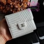 Chanel wallet chevron สีขาว งานHiend Original งานเนี๊ยบสวยเป๊ะ หนังแท้ หนังCaviar งานดีสุด