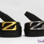 เข็มขัด ZEGNA หัว Z ลายตารางเทาดำ (หัวทอง&เงิน )