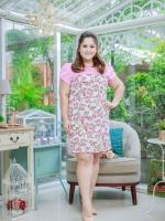 3 Size= XL,3XL,5XL ชุดเดรสสาวอวบ++ผ้า Sanfox พื้นขาว ทอลายดอกชมพู จุดเด่นของชุดนี้ตัดต่อด้านบน และแขนด้วยผ้า Hanako สีชมพู